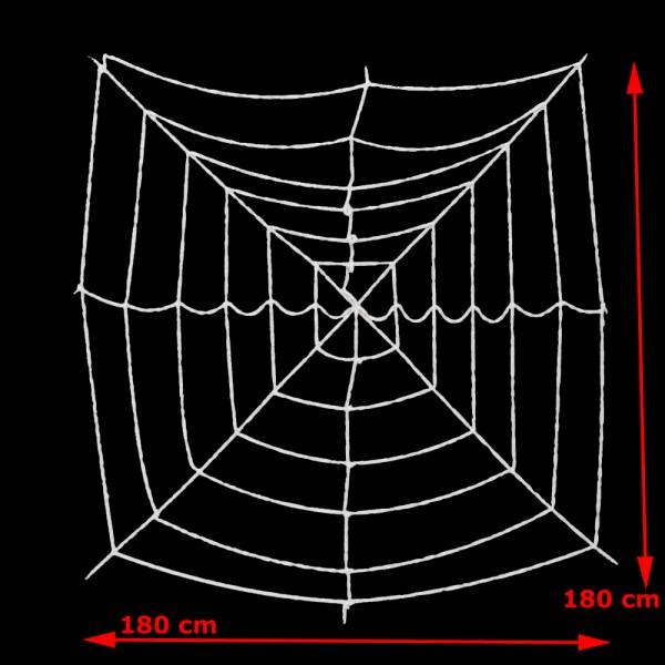Halloween Spinnennetz, 180x180cm - UV Aktiver Stoff - dicke Fäden zum Befestigen von Spinnen - Spinnweben