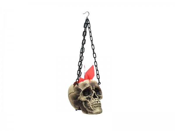 Schädellaterne, Halloween Dekolampe - Flammen aus einem Totenkopf - 45x21x15cm - Lüfter + LEDs