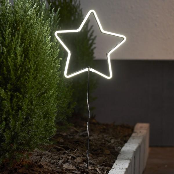 LED Lichterstern Neonstar- stehend - H: 58cm - 72 warmweiße LED - Timer - Batterie - Outdoor - weiß
