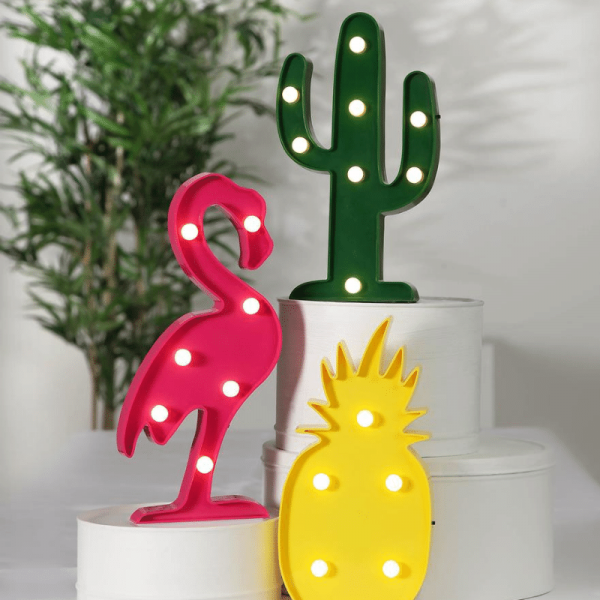 "LED-Party-Figuren ""Fruity"" - 3er Set - 20 warmweiße LEDs - H: 30cm - Batterie - Schalter"