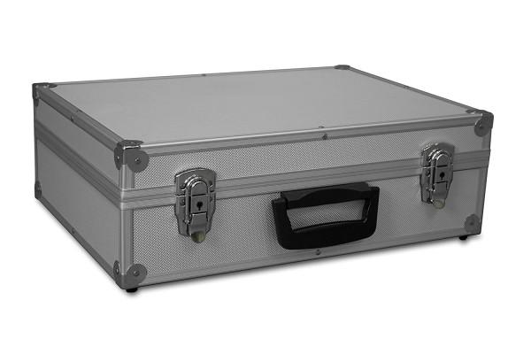 B-Ware GORANDO® Transportkoffer silber, Alurahmen | 440x300x130mm | Für Werkzeuge, Kameras, Messgeräte etc.