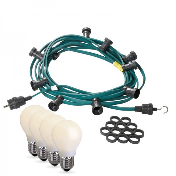 Illu-/Partylichterkette 10m | Außenlichterkette | Made in Germany | 10 x bruchfeste, opale LED Lampen