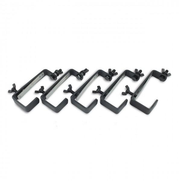 Theaterhaken 50kg Set CC-50 schwarz (5 Stück) - Stabiler Montagehaken mit Schutzlippe - bis 50kg | DELTATRUSS