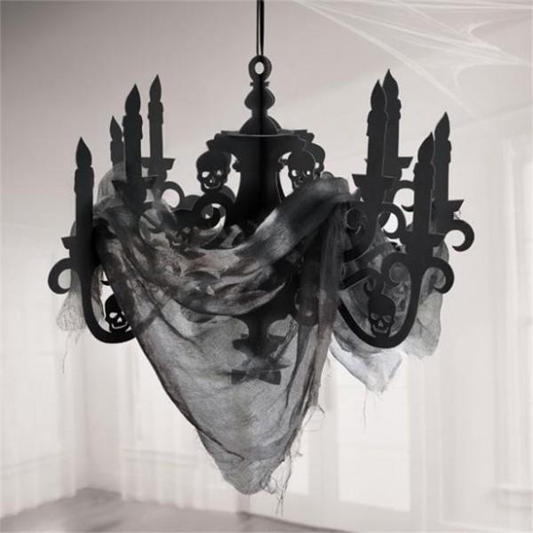 Halloween schwarzer Kronleuchter mit Gewebe - 57,5x40,6cm - Raumdekoration - Papier