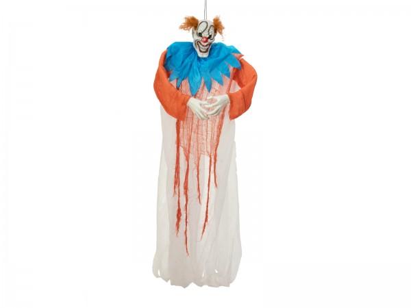 Lachender Horror Clown - 170cm Halloween Figur - formbar, zum Hängen - diabolisches Grinsen