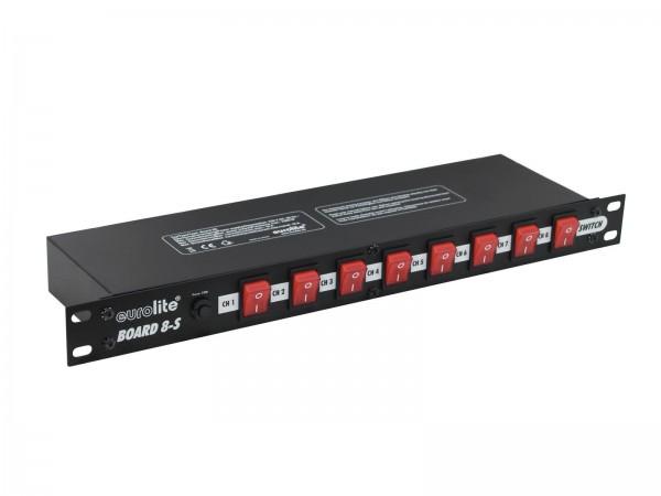 """Schaltboard mit 8 beleuchteten Schaltern - 19"""" Einbau möglich - mit IEC Kaltgeräten-Ausgängen"""