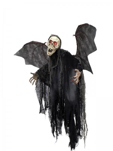 Halloween Figur Bat Ghost 85cm - Gruselige Geisterfigur mit Flügeln - rot pulsierende Augen
