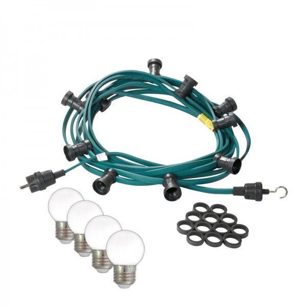 Illu-/Partylichterkette 10m   Außenlichterkette   Made in Germany   10 kaltweißen LED-Kugellampen