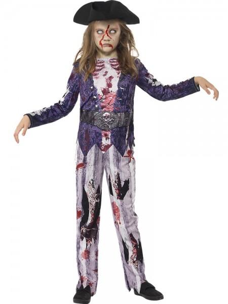 Halloween Piraten-Zombie Kostüm für Kids (7-9 Jahre) - Hose, Top, Piratenhut - elastisch