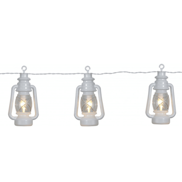 Partylichterkette | weiße Laternen | LED | Outdoor | 2,80m | 8 x Warmweiß | mit Haken