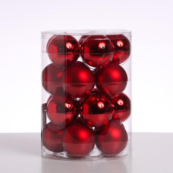 Christbaumkugel - Weihnachtsbaumkugel - Glas - D: 6cm - glänzend und matt - rot - 20er Set