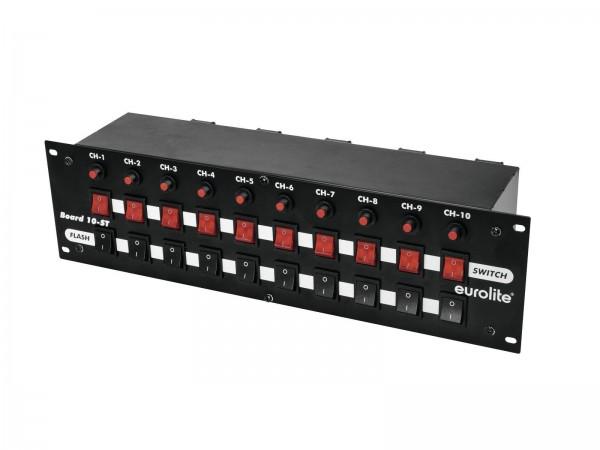 """BOARD-10ST- 10-fach Schaltboard im 19"""" Format - Schalter + Taster Schutzkontakt-Ausgänge"""