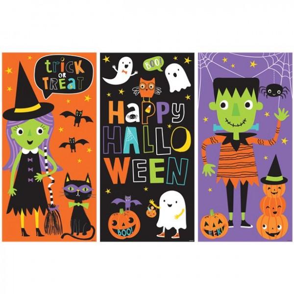 3er Set große Halloween Poster - schaurige Party-Deko für Kids (82,5 x 160cm)