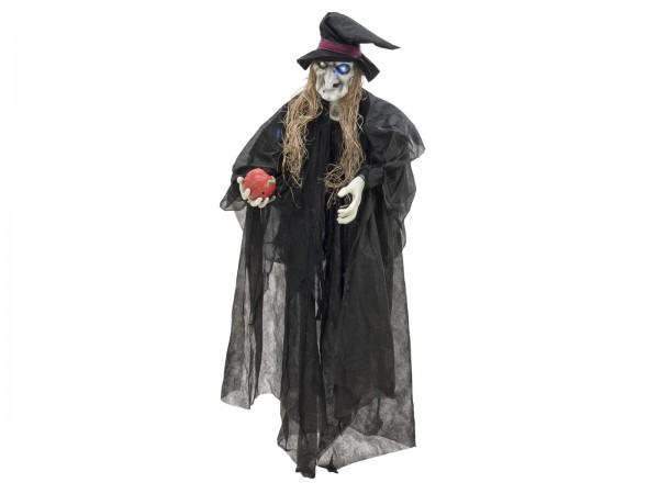 Halloween Hexe lebensgroß - mit leuchtenden LED Augen und Geräuschen, schwarz, 170cm