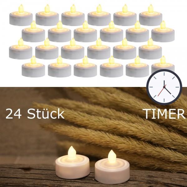 LED-Teelicht 24er Set   Paulo   flackernde LED   ↑ 3,5cm   inkl. Timer, inkl Batterien