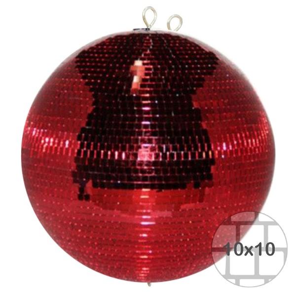 Spiegelkugel 75cm - rot - Diskokugel Echtglas - 10x10mm Spiegel - PROFI Serie