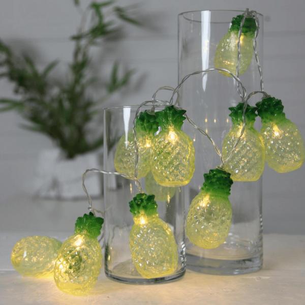 "LED Lichterkette ""Ananas"" - 10 warmweiße LED - L: 1,8m - Batterie - Timer"