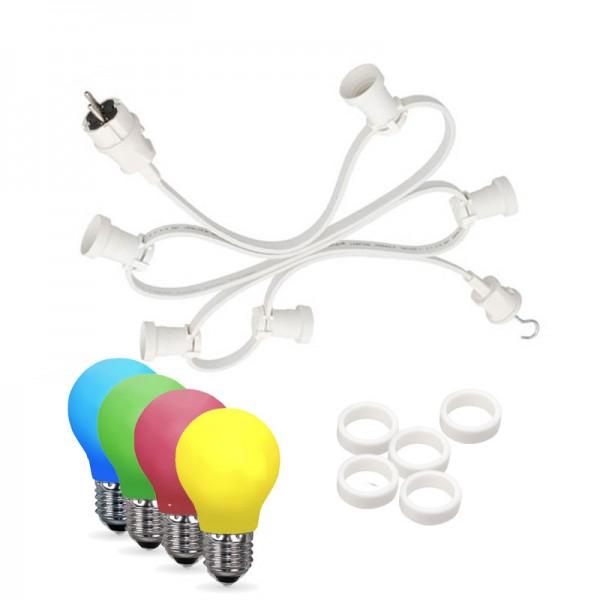 Illu-/Partylichterkette 20m | Außenlichterkette weiß | Made in Germany | 30 x bunte LED Tropfenlampe