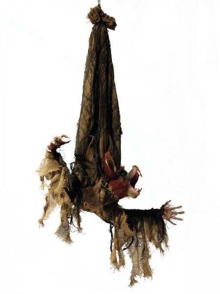 Animierte Fledermaus Figur, 95cm - Bewegte Arme und Kopf, blinkende Augen - Halloween-Dekoration