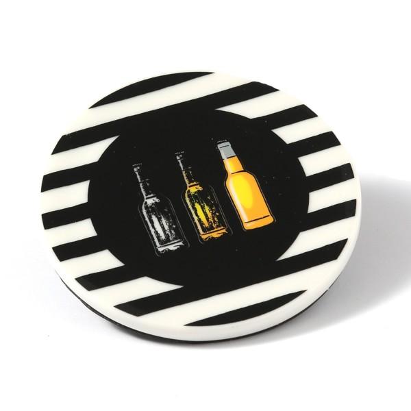Untersetzer aus Keramik mit FLASCHEN Design - D: 9cm - rund