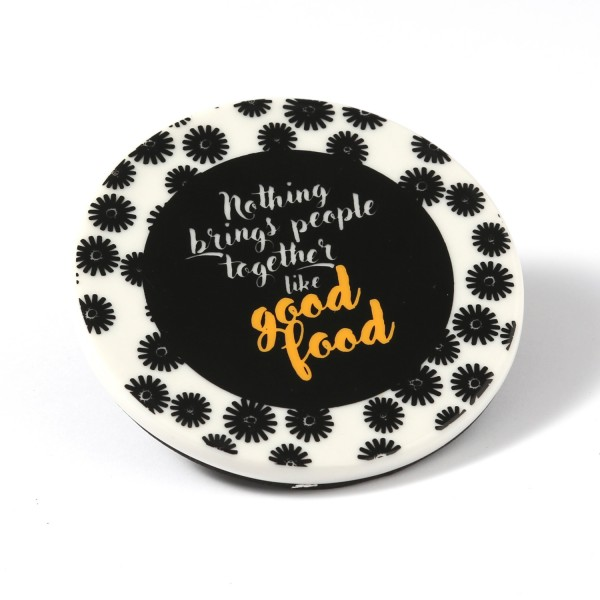 Untersetzer aus Keramik mit GOOD FOOD Aufschrift - D: 9cm - rund