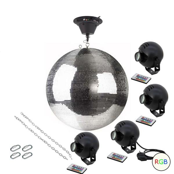 Spiegelkugel Komplettset - Discokugel, Motor, Pinspot, Montagematerial für Diskokugel - Mirrorball Set - Partysets