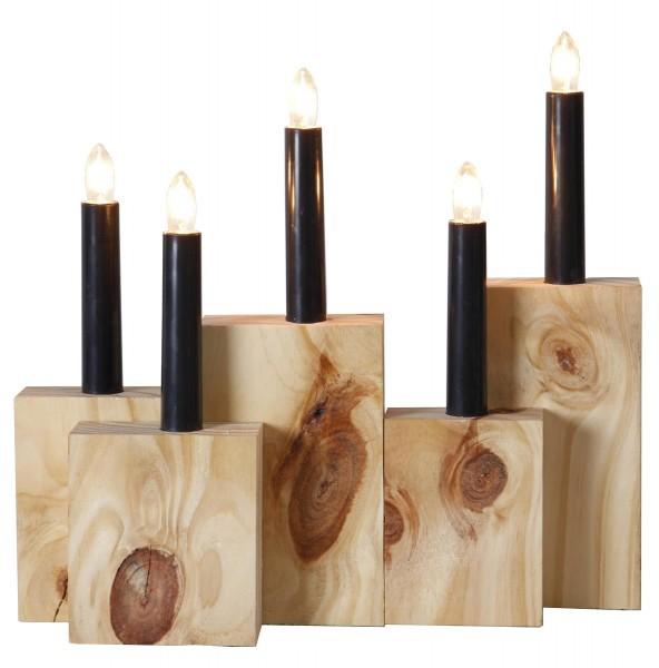 """Kerzenleuchter """"Kapa"""" - 5flammig - warmweiße Glühlampen - Holz - L: 29,5cm, H: 27,5cm - Braun"""