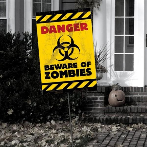"""Halloween Warnschild """"ZOMBIES"""" 58x24cm - Für Innen und Außen"""