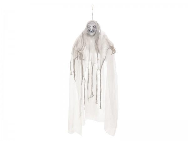 Weiße Hexe, bewegt mit Licht und Geräuschen - Halloween Figur zum Hängen 170x50x20cm