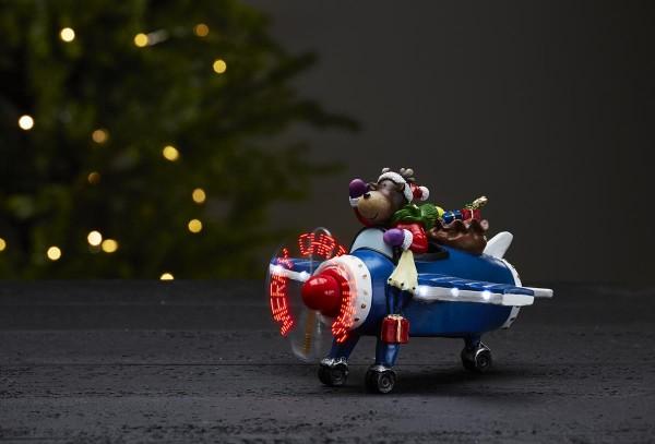 LLED-Weihnachtszene Kidsville - Rentier im Flugzeug - warmweiße LED - Merry Christmas auf Propeller