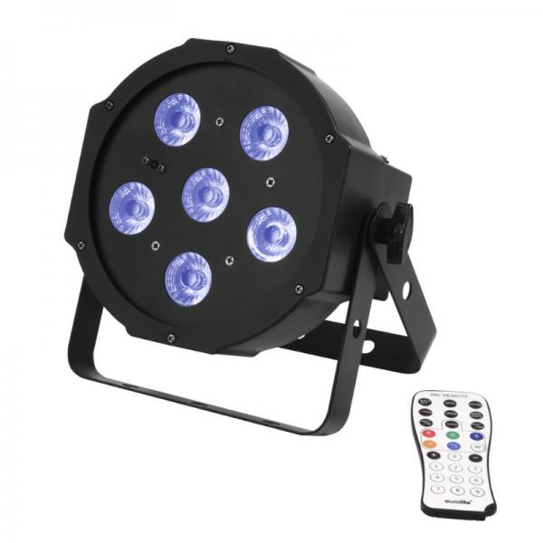 UV Schwarzlicht LED Spot 6x3W - DMX Ansteuerung - 13° Abstrahlwinkel - Musiksteuerung - Fernbedienung