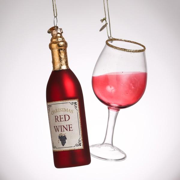 Weihnachtsbaumschmuck ROTWEIN - Weinflasche u. Weinglas - inkl. Aufhänger - rot, gold - 2er Set
