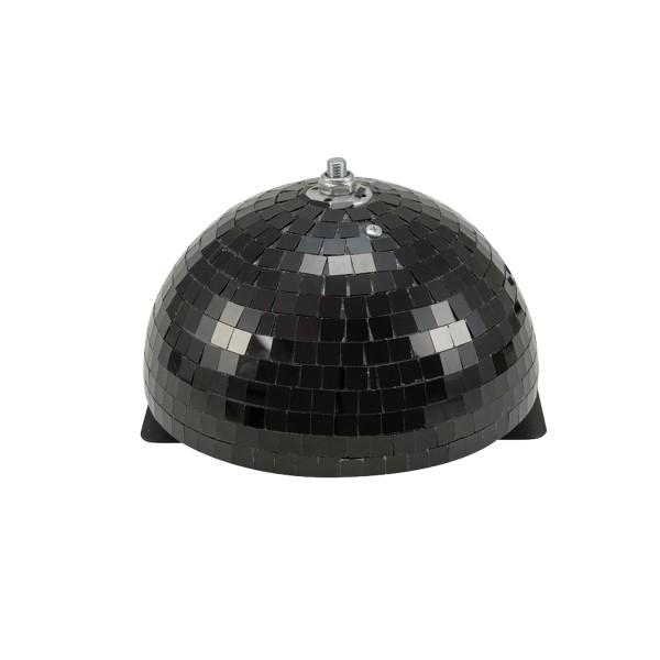 Spiegelkugel halb schwarz 20cm - für Deckenmontage - Diskokugel Echtglas - 10x10mm Spiegel - PROFI