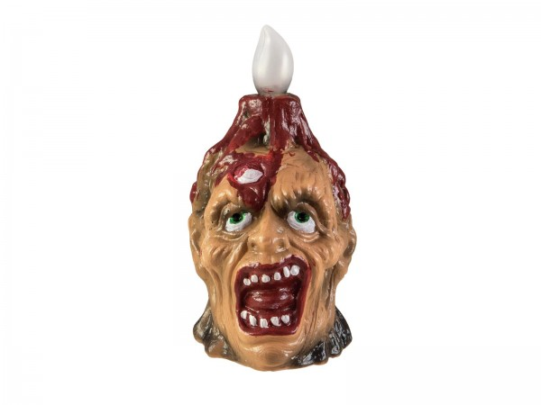 Zombielampe für Halloween - 18cm - gelbe Kerze auf Zombiekopf