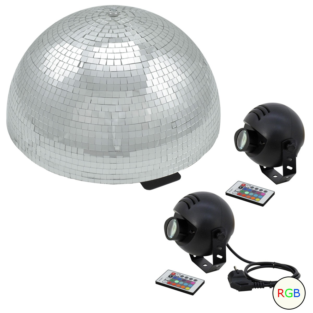 Set Halbspiegelkugel 40cm + 2 x LED Pinspot Farbwechsel RGB