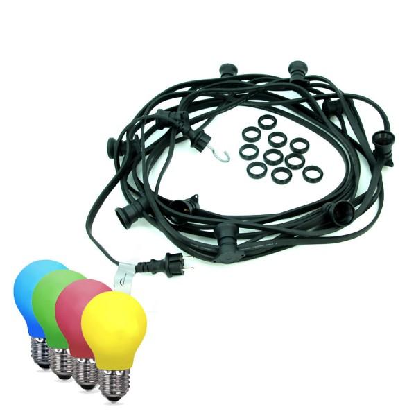 ILLU-Lichterkette BLACKY - 20m - 20xE27 | IP44 | bunte LED Tropfenlampen | SATISFIRE