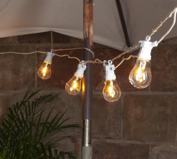 "LED Lichterkette ""CIRCUS WHITE"" - 20 Birnen 6cm warmweißen Filament LEDs - 5m - inkl. Trafo - outdoor"