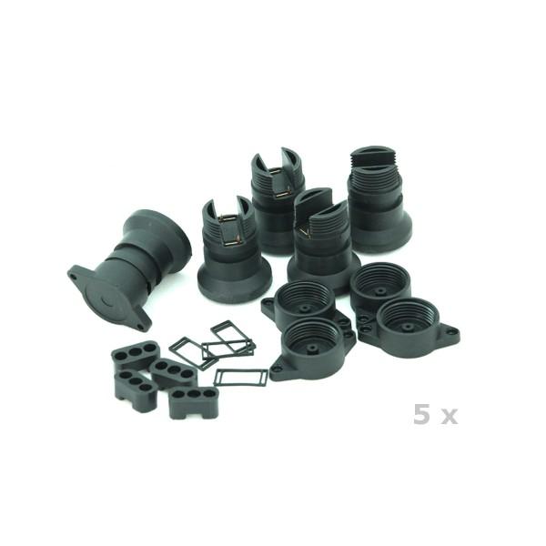 5 x E27 Sockel für ILLU Lichterketten -Zum Selbstbau einer Außenlichterkette   SATISFIRE