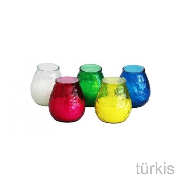 Duftkerze im türkisen Glas - Citronella - gegen Stechmücken - +/-50 Stunden