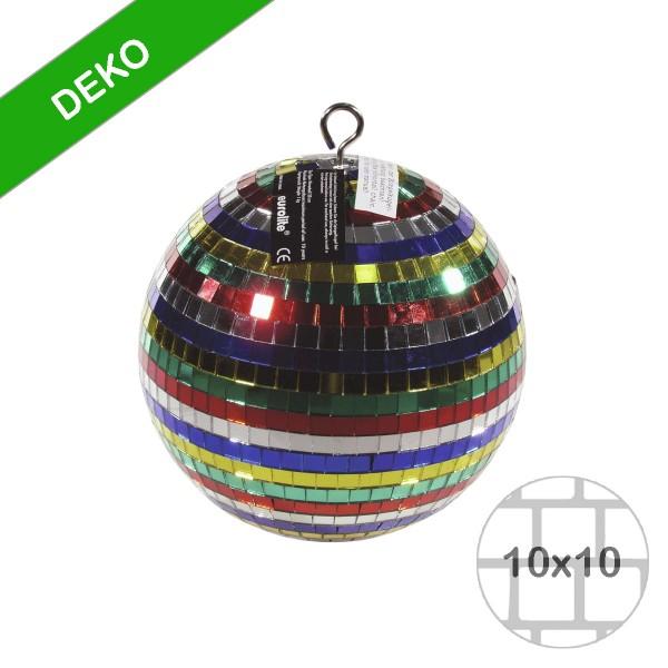Spiegelkugel 20cm - mehrfarbig - Diskokugel Echtglas - 10x10mm Spiegel - DEKO