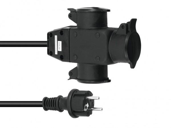 Stromkabel / Verlängerung | 3-Fach | Schutzkontakt | Outdoor| 3x1,5mm² | 1m