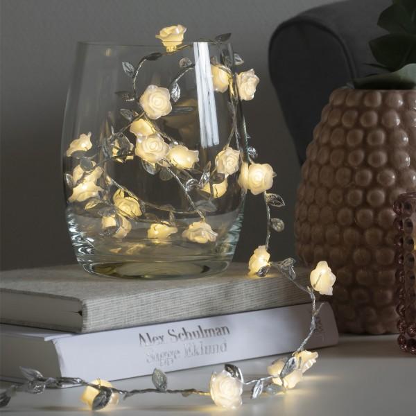 LED Lichterkette Rosen mit silbernen Blättern - 25 warmweiße LED - Batterie - Timer - L: 1,50m