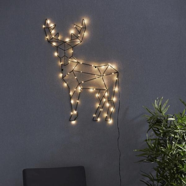 """LED-Leuchtfigur Rentier """"Cupid"""" - 70 warmweiße LED - H: 70cm, B: 50,5cm - zum Hängen - schwarz"""