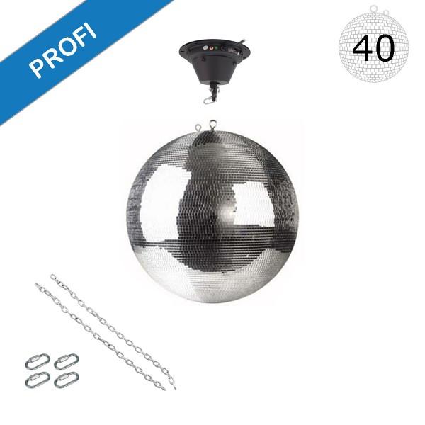Spiegelkugel Set 40cm Kugel PROFI + Motor MBM-404, 2 Ketten, 4 Kettenglieder