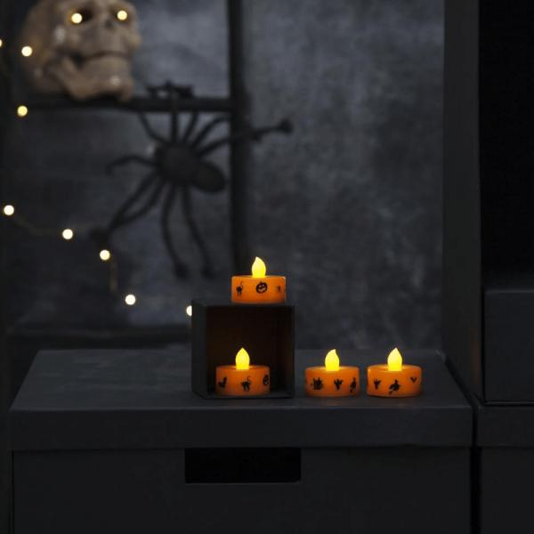 """LED-Wachskerzen Teelichter """"Halloween"""" , 4er Set, orange H: 3cm - D: 4cm - Schalter"""