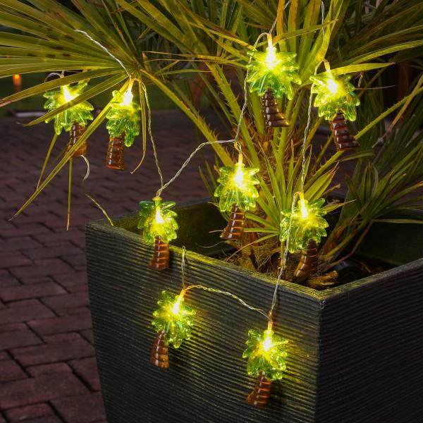 LED Lichterkette Palme - 10 warmweiße LED - Batteriebetrieb - L: 1,35m - grün/braun