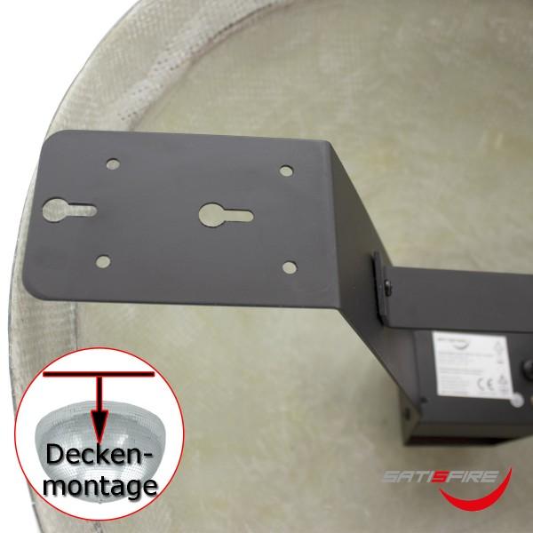 Spiegelkugel halb 50cm schwarz - für Deckenmontage - Diskokugel Echtglas - 7x7mm Spiegel - PREMIUM