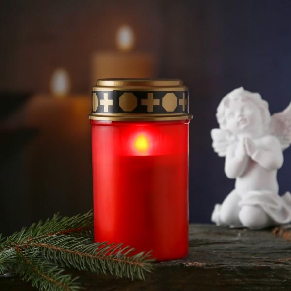 LED Grablicht - Grabkerze - rot flackernde Flamme - H:12cm - 2500h Leuchtdauer - für Außen - rot