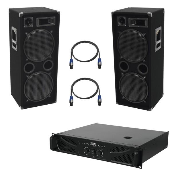 Party Lautsprecherset mit Endstufe und Kabeln - 2000W