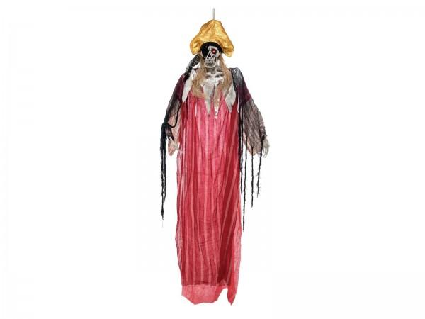 Piratenskelett Captain Morgan - 170cm Halloween Figur zum Hängen - rot blinkende Augen - Geräusche